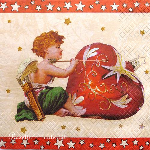 Amorek a srdce - ubrousek velký