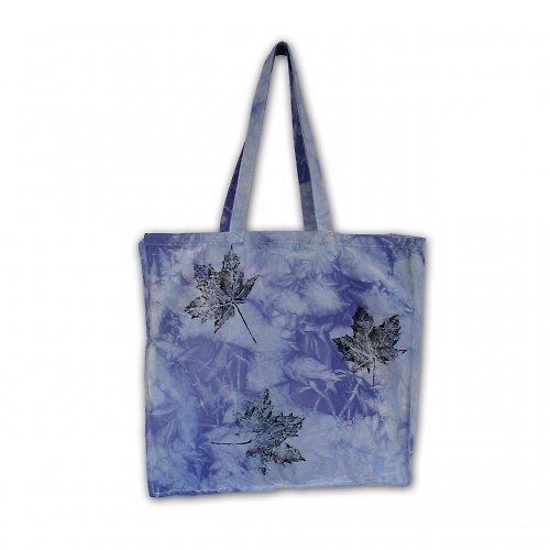 Modrofialová batikovaná taška s listy