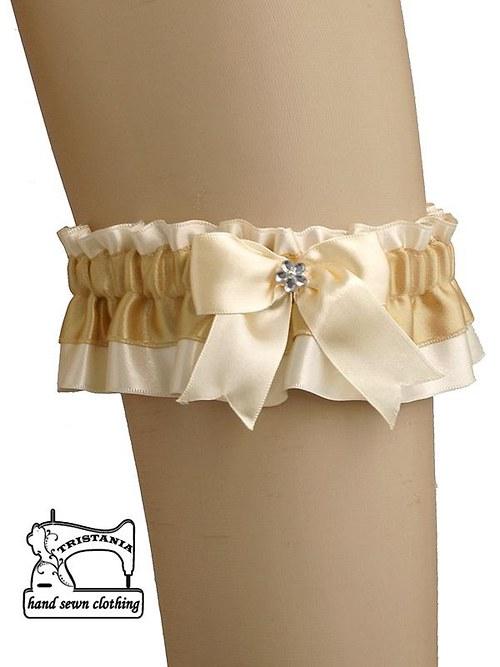 saténový podvazek pro sexy svatební prádlo 0370