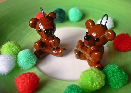 Skleněná miniatura Čokoládový medvídek