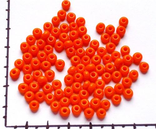 Skleněný oranžový rokajl 4mm, 20g