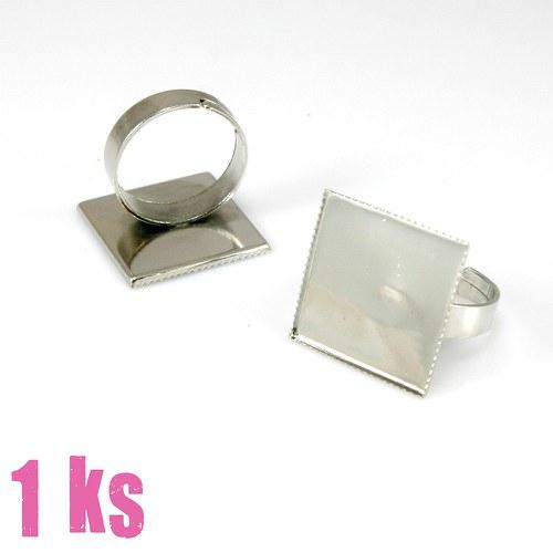 Základ na prsten platinový, čtvercové lůžko