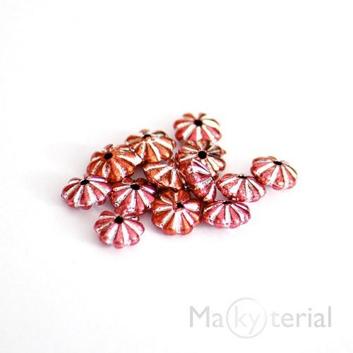 Akrylové korálky - červenooranžové - 30 ks