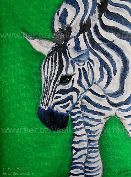 Zebra v zelené
