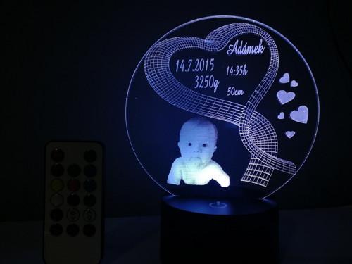 Led lampička narození miminka s fotkou