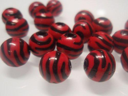 19472-B10 Korálky zebra červeno/černé bal.10ks