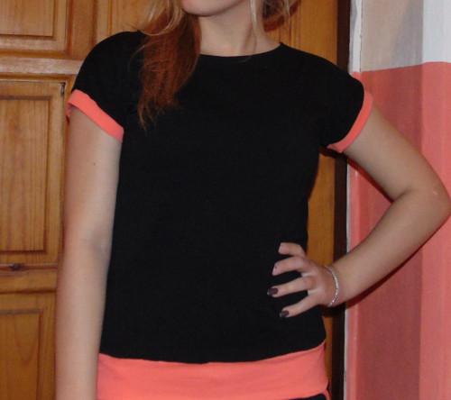 tričko černé s barevnými lemy-výběr barev