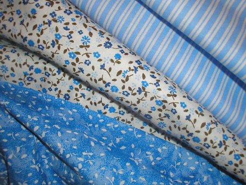 látka - metráž - modrá s bílými lístečky