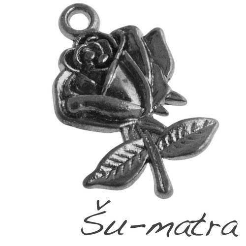Přívěsek černý - růže, 26x17 mm (4 ks)