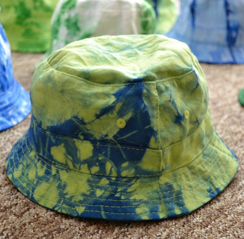 Batikovaný dětský klobouček - zeleno-modrý