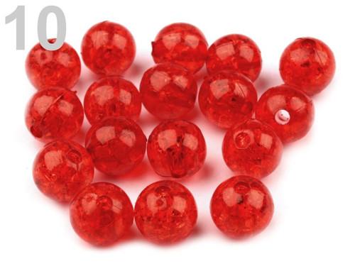 Plastové korálky kraklované Ø10mm (20ks) - červená