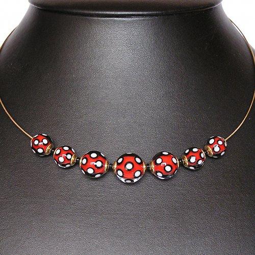 Náhrdelník z korálků  -  puntíkaté - vinuté perle