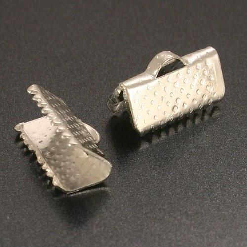 Koncovka krimpovací stříbrná 20mm 2ks