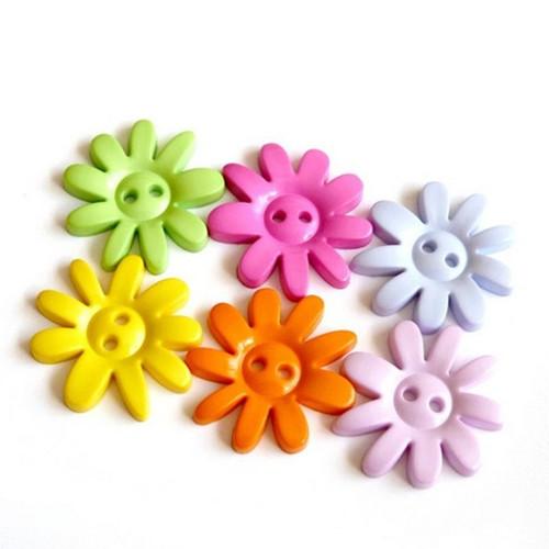 Plastové knoflíky květinky 32mm, MIX 4 kusy