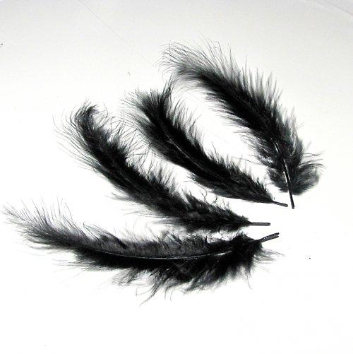 Peříčka - pštrosí, 4 ks, černá