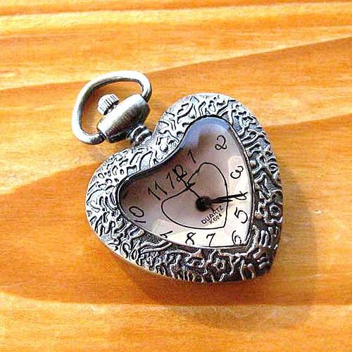 Kapesní Hodinky - Krémové Srdce