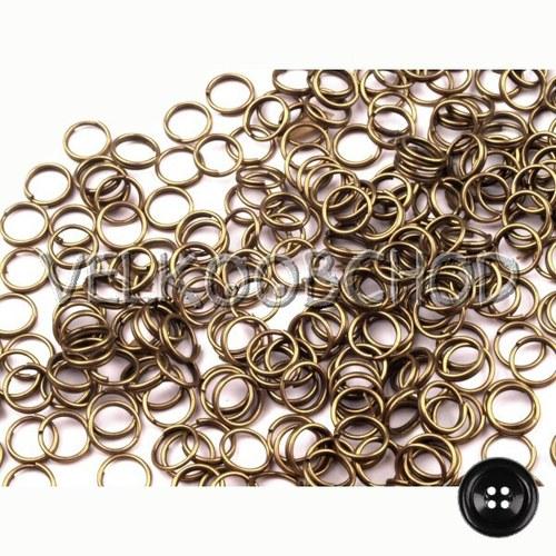 Dvojité kroužky pr.6 mm (250 ks) - staromosaz