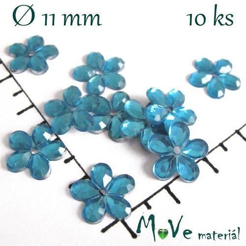 Květina plast Ø11mm našívací  10 ks tyrkysová