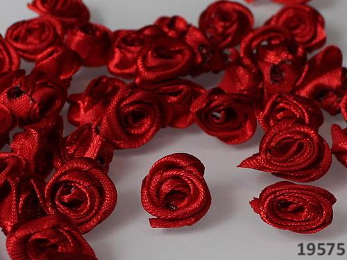 19575 Aplikace růžička červená saténová bal.10ks