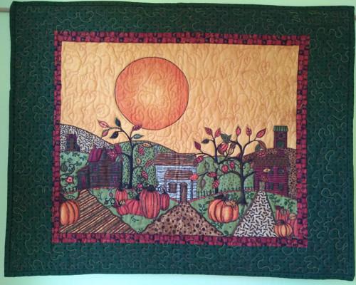 Podzimní prošívaný obraz s motivem slunce, 60 x 70