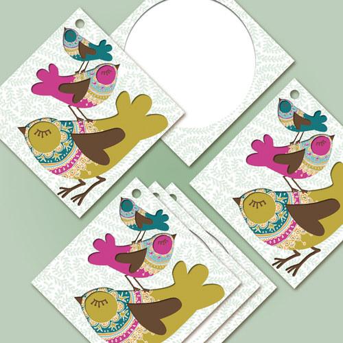 """Kartičky na zboží - hedvábně matné \""""Ptáčci\"""" - 30ks"""