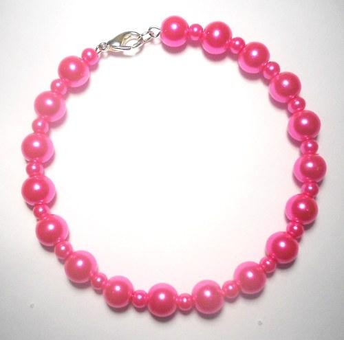 Perly - náramek růžový