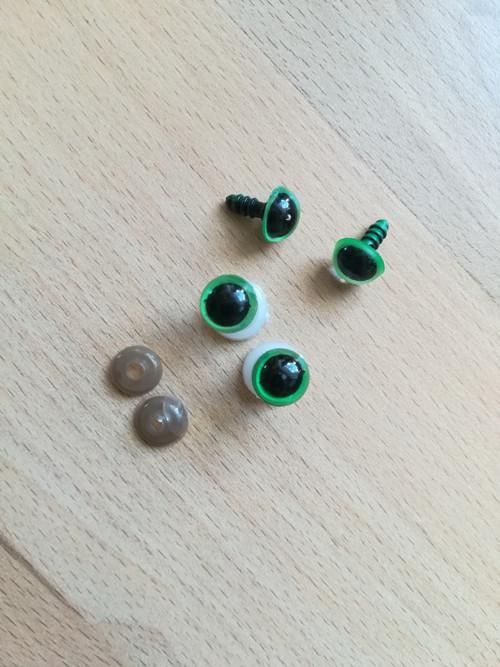 Bezpečnostní oči 10 mm zelené (5 párů)