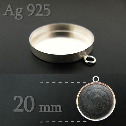 Lůžko kulaté 20mm ze stříbra Ag925