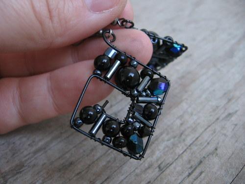 Náušnice geometrické - Temná vášeň