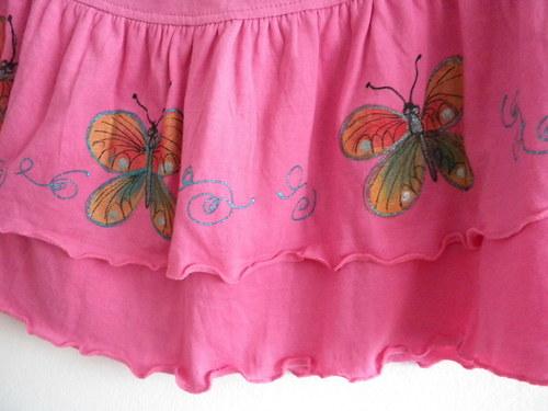 Sukně Motýlci v růžové zahradě pro slečny