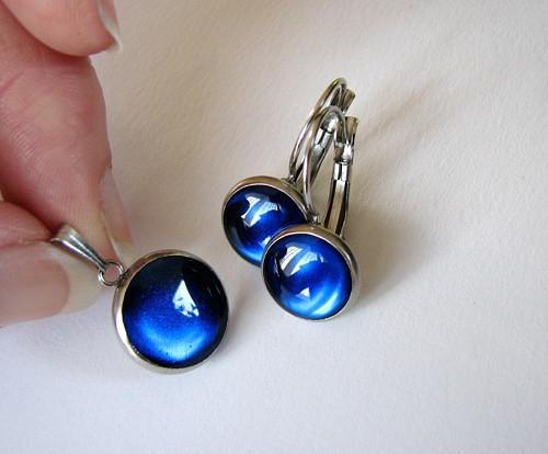 Modrá sada z oceli (hypoalergenní)