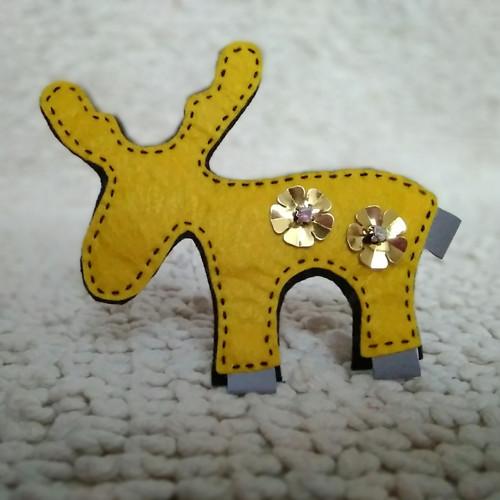 Reflexní brož - žlutý sob