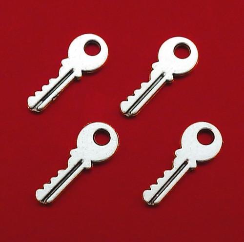 Starostříbrný přívěsek - klíč, 4 kusy