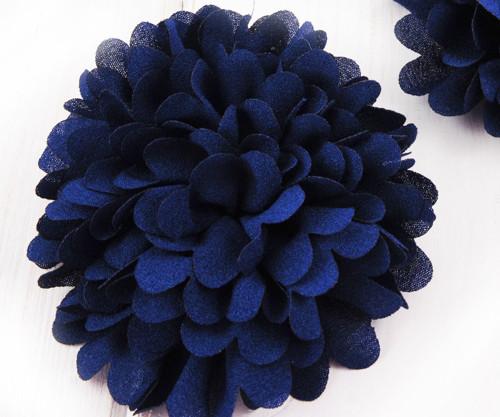 2ks Tmavě Modrá Předené Hedvábí Umělé Květiny Flat