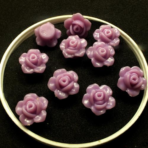 korálky akrylové-růžička - fialové, 10 ks