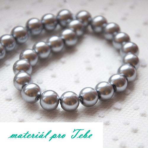 sklenené strieborné perly - 20 ks
