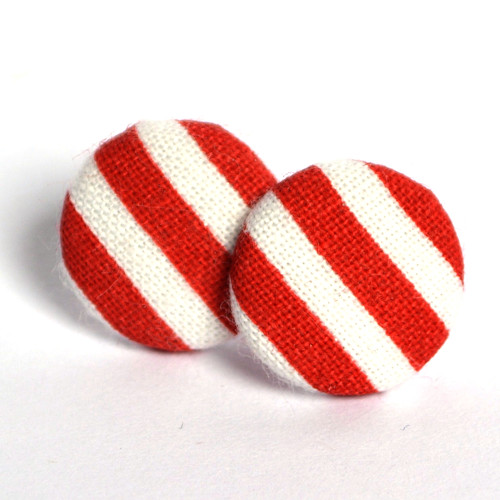 Buttonky - červenobílé náušnice s proužky