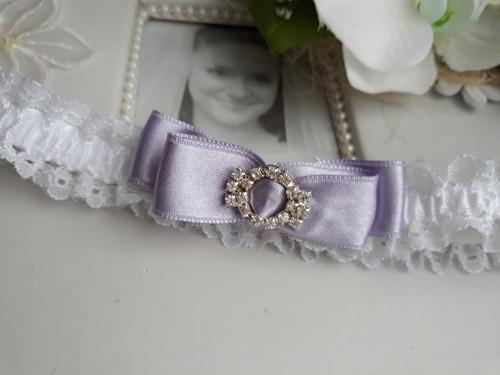 Podvazek - bílá a lila