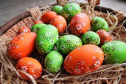Husí kraslice oranžové a zelené
