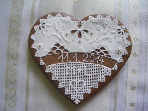 Svatební srdce z perníku