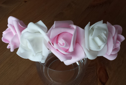 BÍLORŮŽOVÁ květinová svatební čelenka