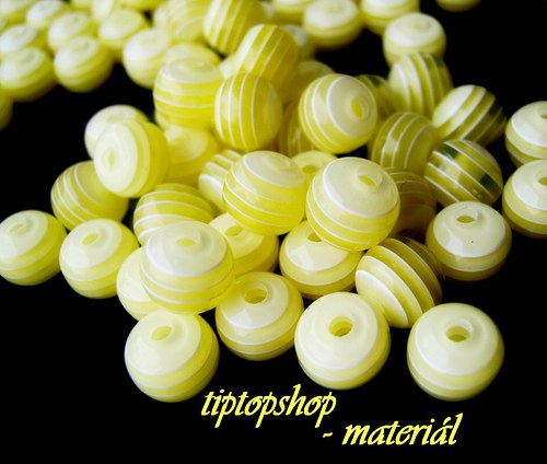 Korálky s proužkem, žluté, 8mm (40ks)