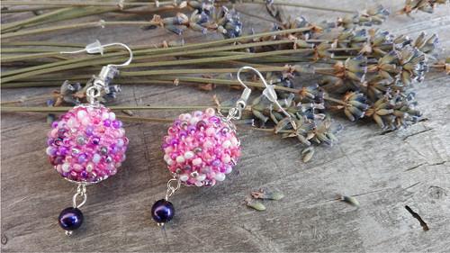 """Náušnice \""""dorůžova s fialovou perličkou\"""""""