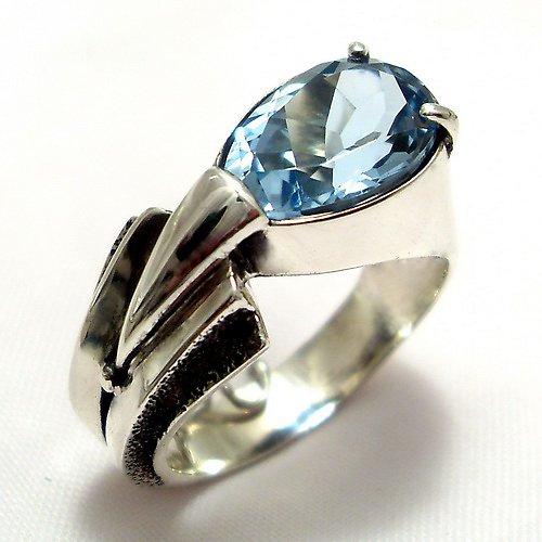 Prsten «Pero» - stříbro 925/1000, modrý topaz