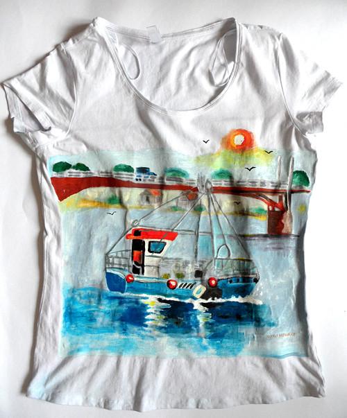 tričko s lodí/t/Dámské triko prázdniny u moře.