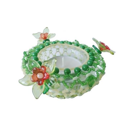 Svícínek na čajovou svíčku korálkový jarní