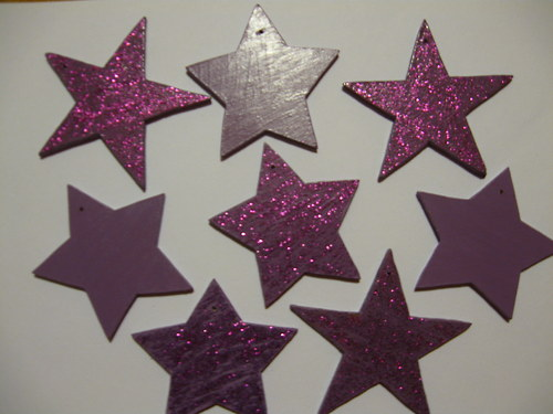 Vánoční hvěhdičky - fialové/třpytivé
