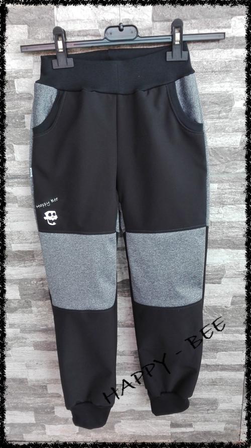 Softshellové kalhoty černá/šedé melé  80-134