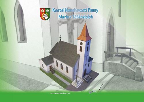 Papírový model - Kostel v Těškovicích