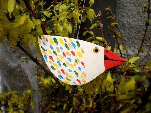 Ptáček na pověšení - bílý